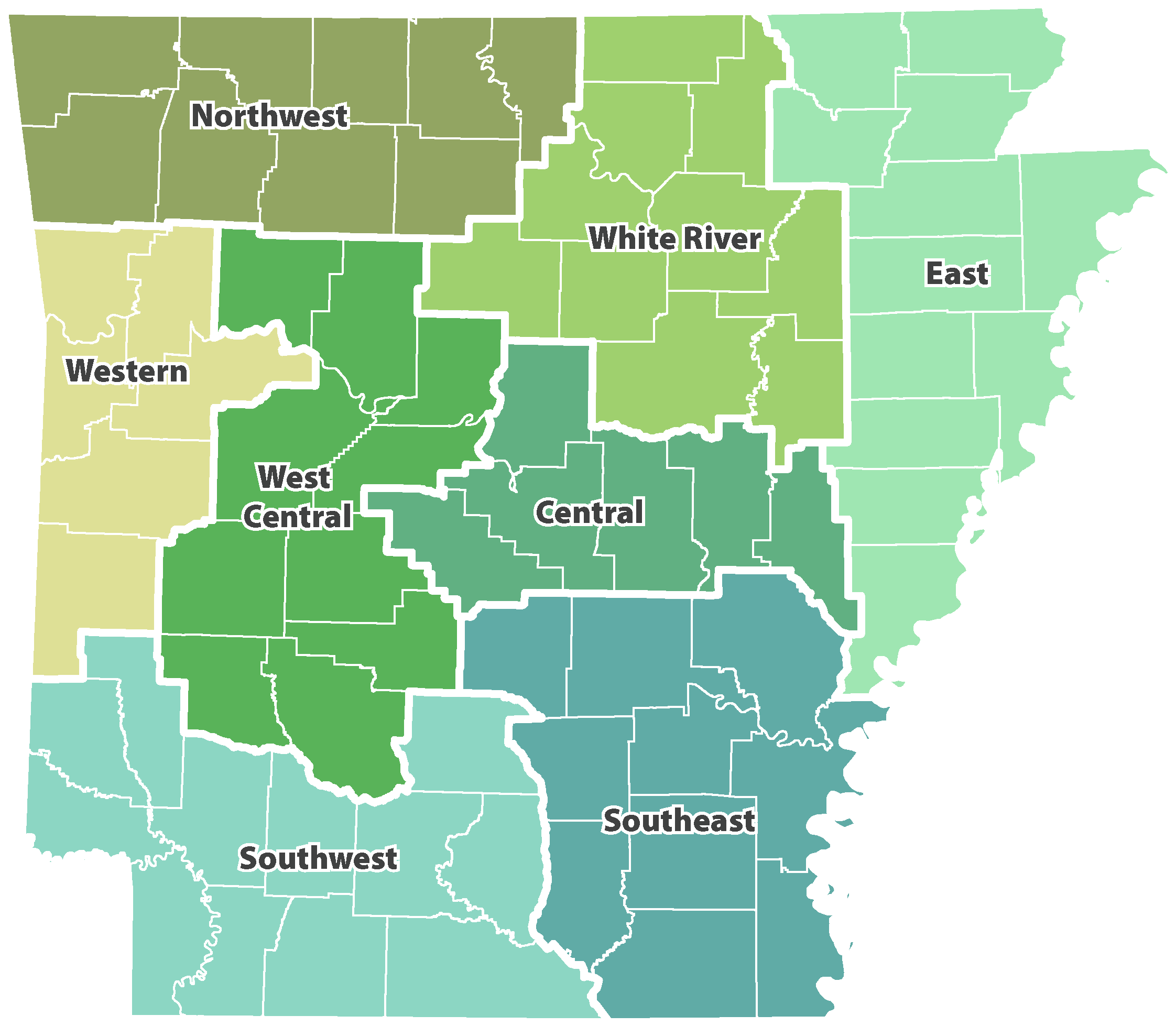 Map of the eight development districts in Arkansas: (in cardinal directions, from northwest to southeast) Northwest, White River, East, Western, West Central, Central, Southwest, and Southeast.